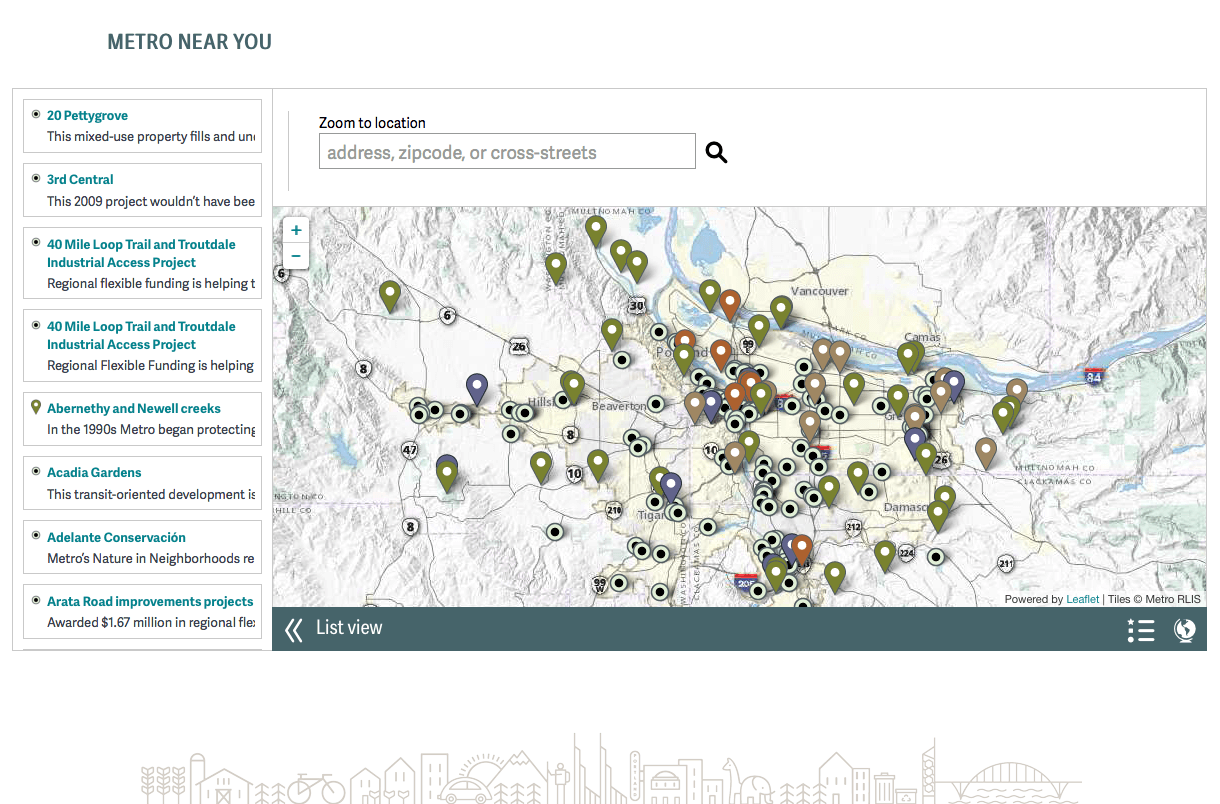 Elements of Metro website's home page map feature