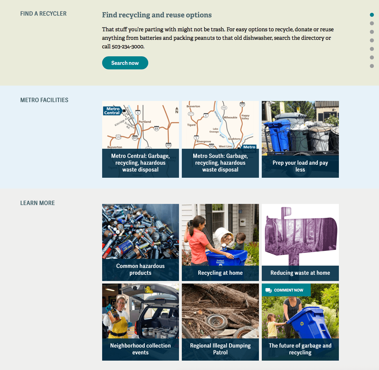 Elements of Metro website's find a recycler and facilities feature