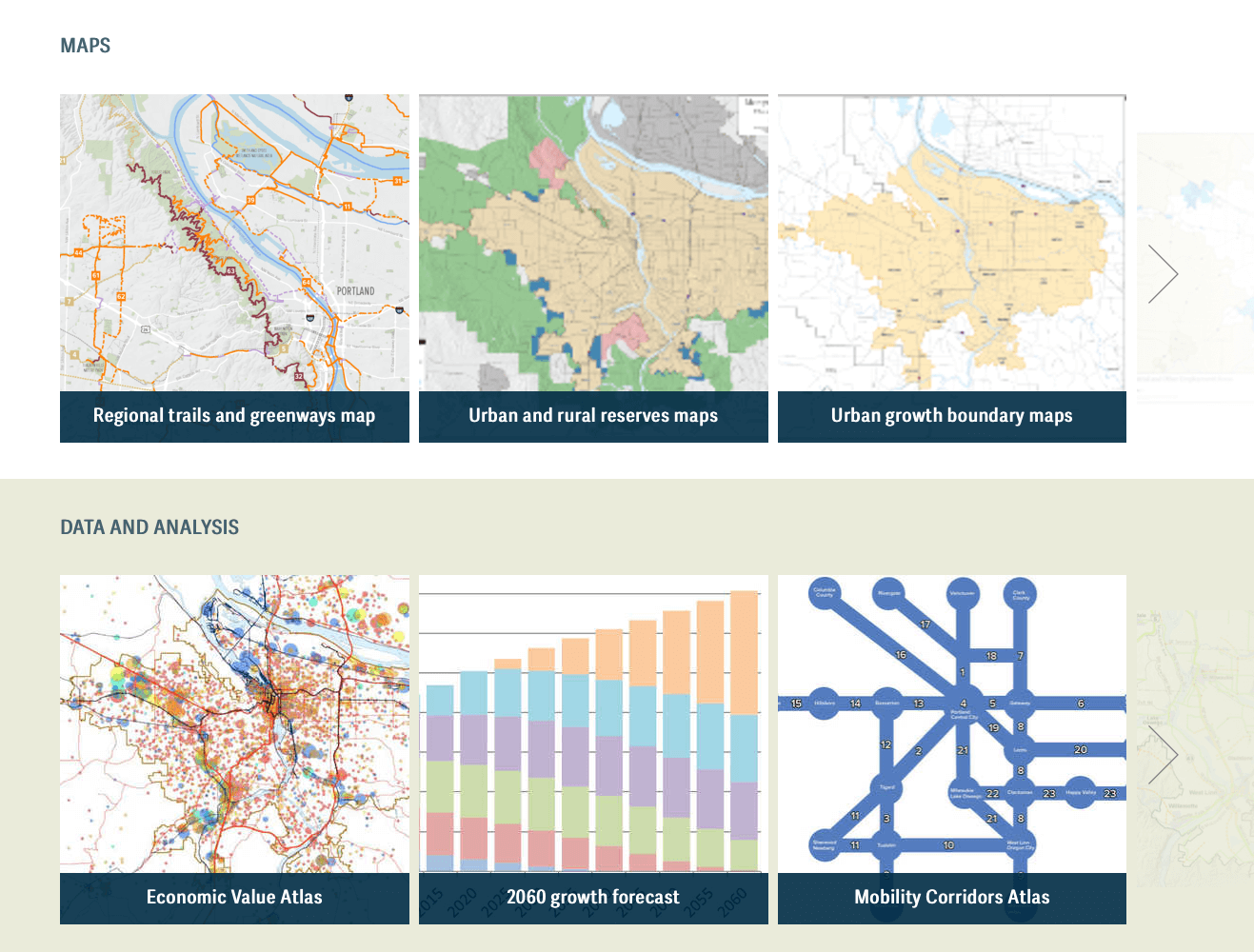 Elements of Metro website's maps and data analysis features