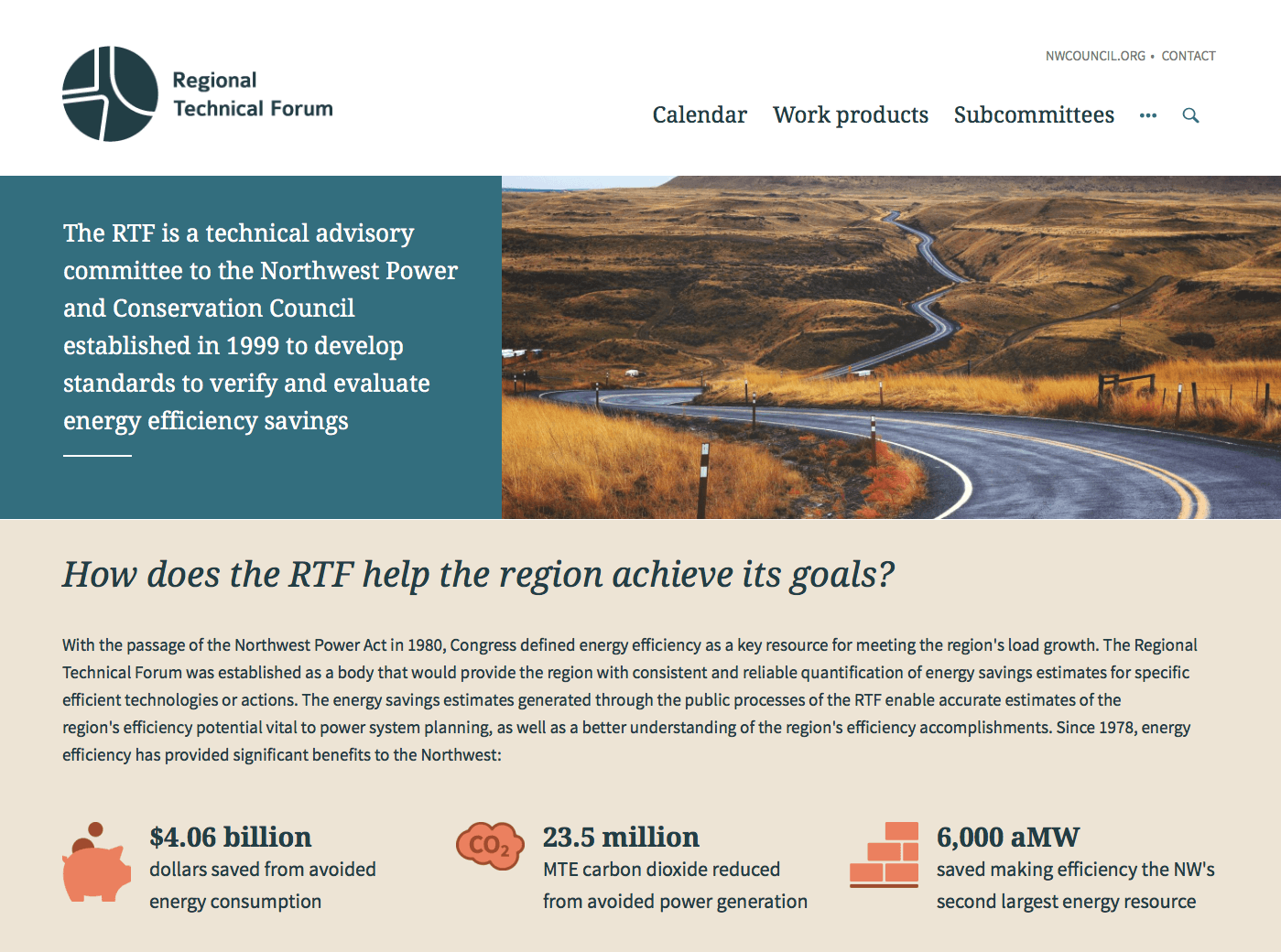 Elements of NW Council RTF's home page