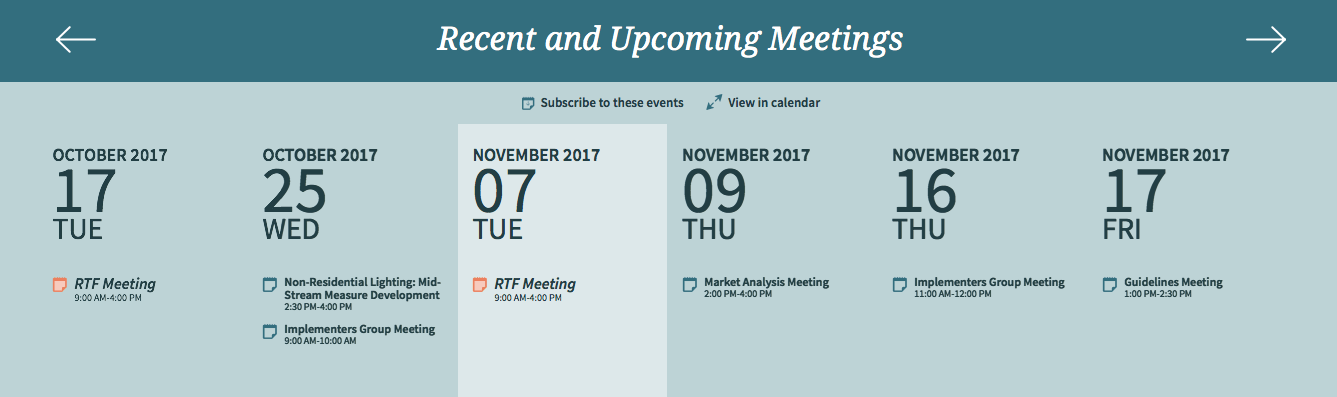 Elements of NW Council RTF's upcoming meeting calendar feature